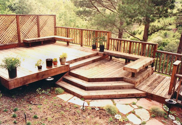 Landscaping Pictures For Decks : Wood deck b d jpg more landscaped decks landscaping